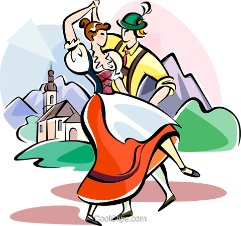 German traditional Dancers Royalty Free Vector Clip Art illustration vc111118