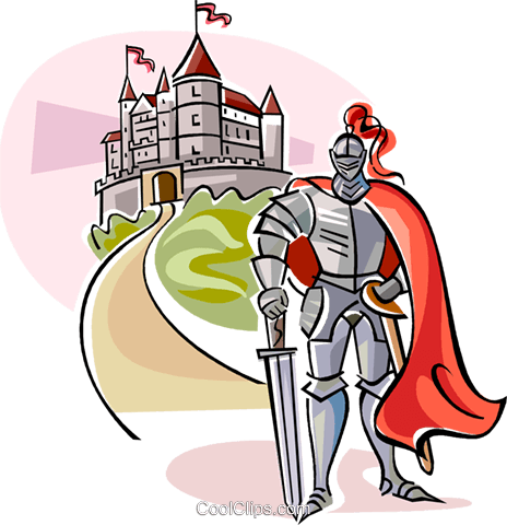 Medieval Knight with Castle Royalty Free Vector Clip Art illustration vc111121