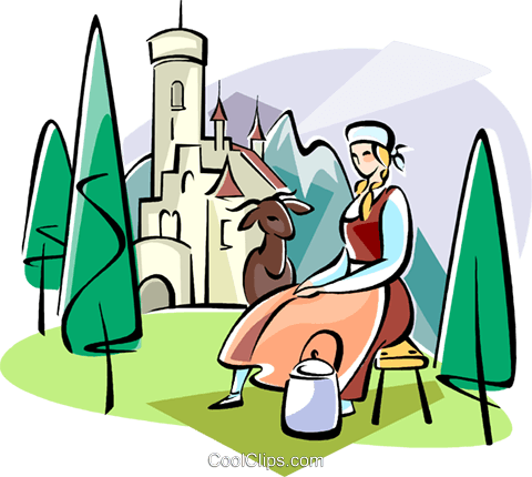 Maiden in a country scene Royalty Free Vector Clip Art illustration vc111123