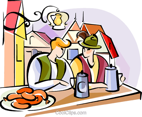 German Oktoberfest pub scene Royalty Free Vector Clip Art illustration vc111126