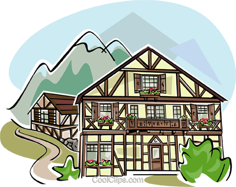 typical Bavarian architecture Royalty Free Vector Clip Art illustration vc111128