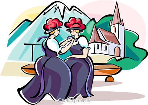 women in traditional costumes Royalty Free Vector Clip Art illustration vc111130
