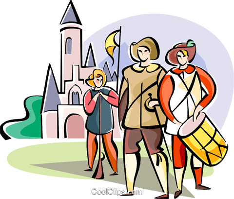 men in traditional costumes Royalty Free Vector Clip Art illustration vc111131