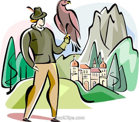 German hawk with man Royalty Free Vector Clip Art illustration vc111132