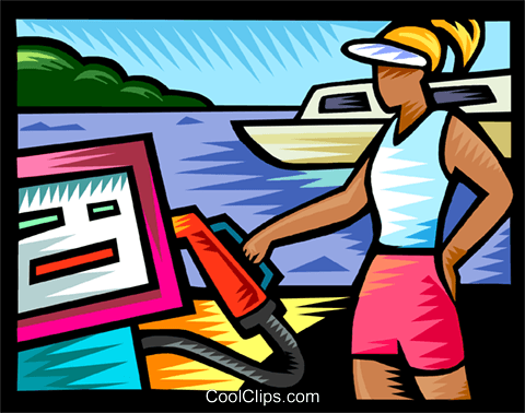 Woman with gas pump at the marina Royalty Free Vector Clip Art illustration vc111134