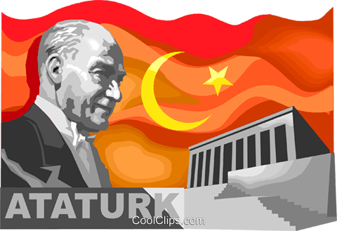 Ataturk  Founder of the Turkish Republic Royalty Free Vector Clip Art illustration vc111140