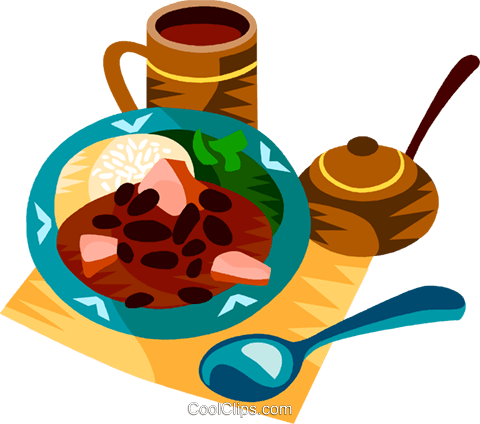 Feijoada, The Brazilian national dish Royalty Free Vector Clip Art illustration vc111183