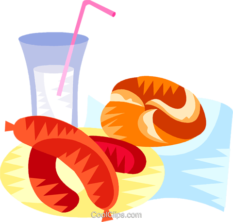 German sausage and roll with drink Royalty Free Vector Clip Art illustration vc111195