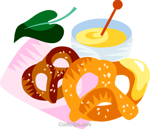 German pretzels and mustard Royalty Free Vector Clip Art illustration vc111196