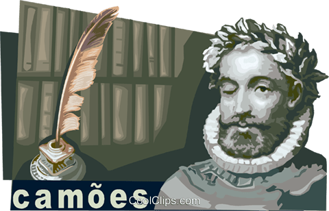 Luis Vaz de Camoes, Portuguese poet Royalty Free Vector Clip Art illustration vc111218
