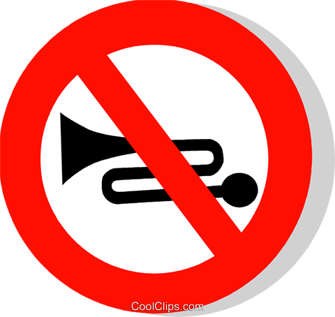 EU traffic sign, use of horn prohibited Royalty Free Vector Clip Art illustration vc111228