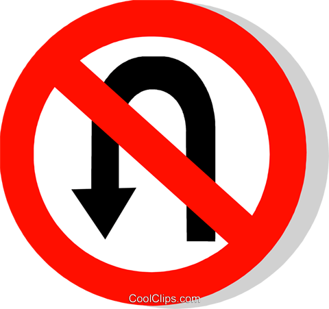 EU traffic sign, no u-turns Royalty Free Vector Clip Art illustration vc111242