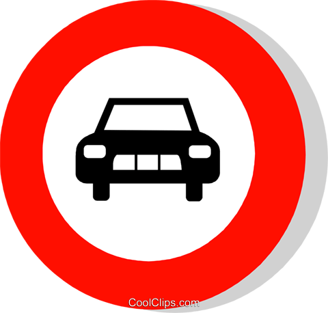 EU traffic sign, no entry for motor cars Royalty Free Vector Clip Art illustration vc111243
