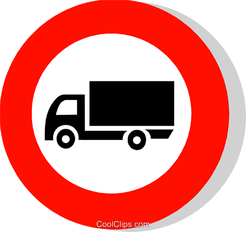 EU traffic sign, lorries prohibited Royalty Free Vector Clip Art illustration vc111246
