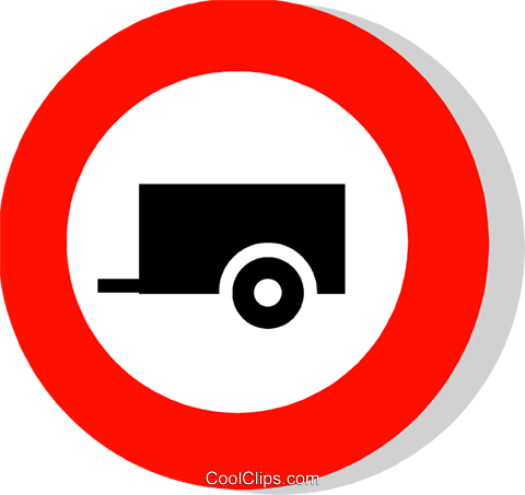 EU traffic sign, no trailers Royalty Free Vector Clip Art illustration vc111248