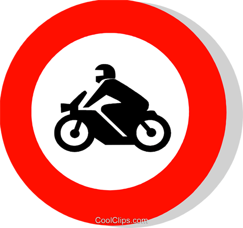 EU traffic sign, motorcycles prohibited Royalty Free Vector Clip Art illustration vc111249