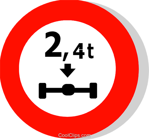 EU traffic sign, axle weight limit Royalty Free Vector Clip Art illustration vc111256