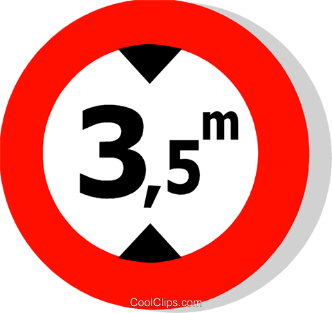EU traffic sign, height limit Royalty Free Vector Clip Art illustration vc111258
