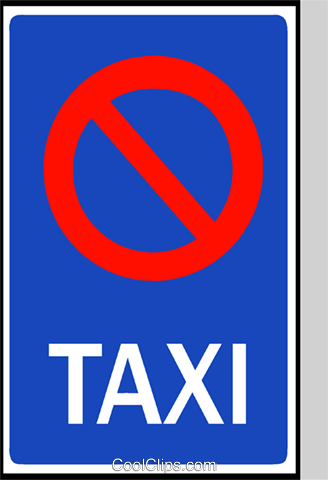 EU traffic sign, no taxis Royalty Free Vector Clip Art illustration vc111269