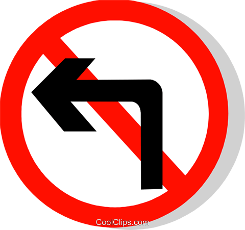 EU road sign, no left turn Royalty Free Vector Clip Art illustration vc111286