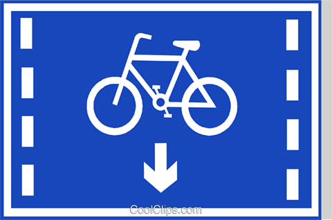 EU road sign, cyclists only lane Royalty Free Vector Clip Art illustration vc111288