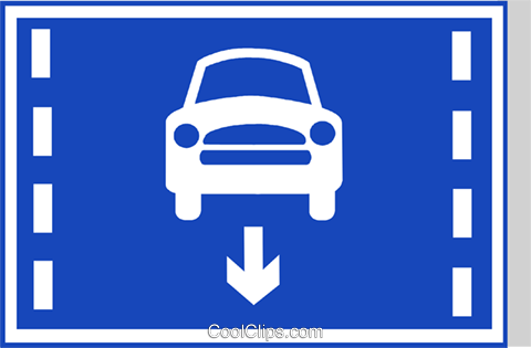 EU road sign, cars only lane Royalty Free Vector Clip Art illustration vc111289
