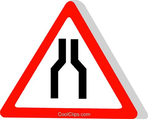 EU traffic sign, road narrows Royalty Free Vector Clip Art illustration vc111302