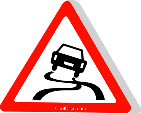 EU traffic sign, slippery road Royalty Free Vector Clip Art illustration vc111305