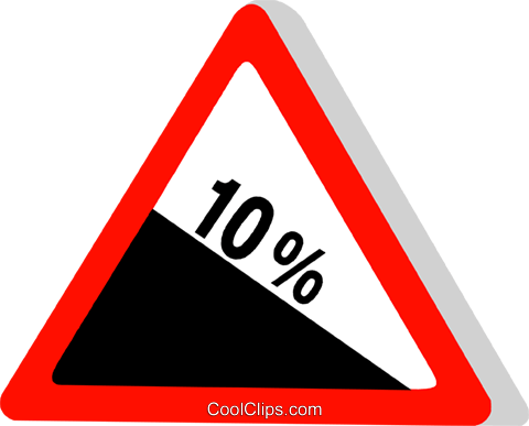 EU traffic sign, steep hill Royalty Free Vector Clip Art illustration vc111307