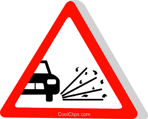 EU traffic sign, loose gravel Royalty Free Vector Clip Art illustration vc111310