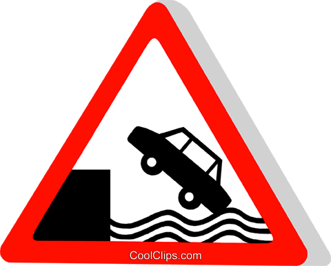 EU traffic sign, river bank Royalty Free Vector Clip Art illustration vc111314