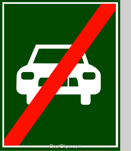 EU traffic sign, end of semi-motorway Royalty Free Vector Clip Art illustration vc111324