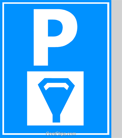 EU traffic sign, parking with meters Royalty Free Vector Clip Art illustration vc111333