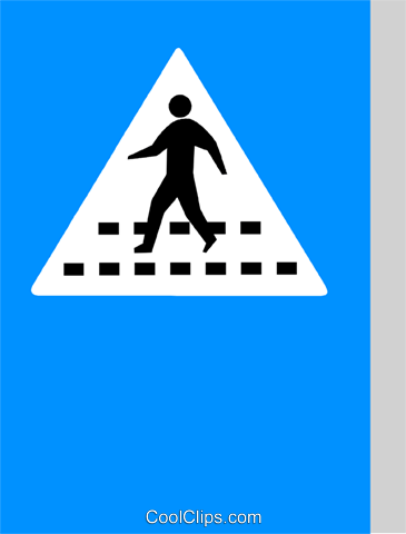 EU traffic sign, pedestrian crossing Royalty Free Vector Clip Art illustration vc111335