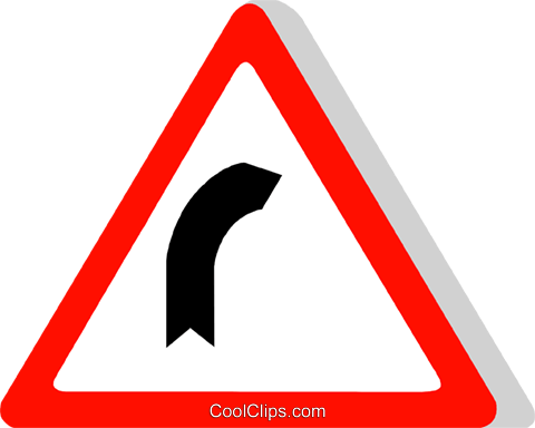 EU traffic sign, right bend Royalty Free Vector Clip Art illustration vc111343