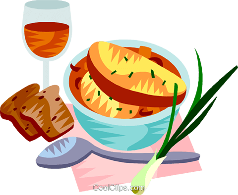 EU European cuisine French onion soup Royalty Free Vector Clip Art illustration vc111369