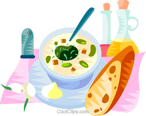 EU European cuisine cup of garlic soup Royalty Free Vector Clip Art illustration vc111374