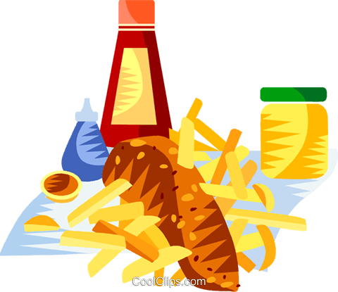 EU European cuisine fish and chips Royalty Free Vector Clip Art illustration vc111388