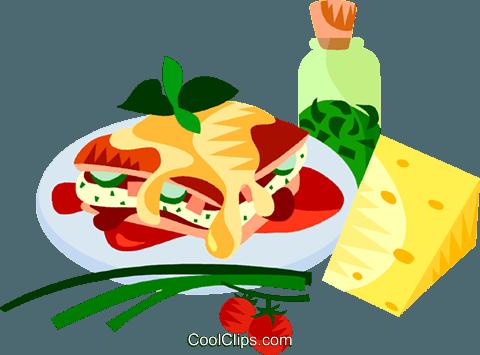 盟欧洲美食烤宽面条 免版税矢量剪贴画插图