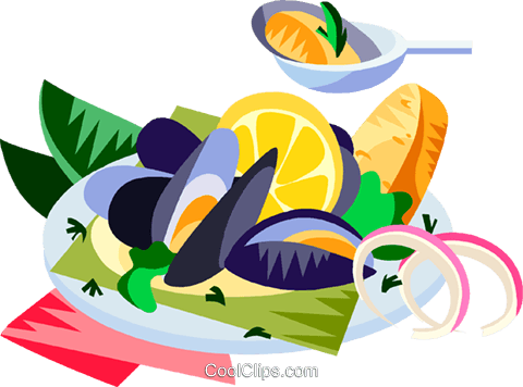 EU European cuisine mussels Royalty Free Vector Clip Art illustration vc111398