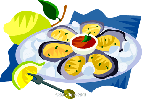 EU European cuisine oyster platter Royalty Free Vector Clip Art illustration vc111399