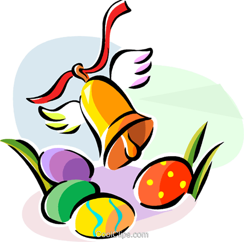 Religious Holidays France Easter bell Royalty Free Vector Clip Art illustration vc111417