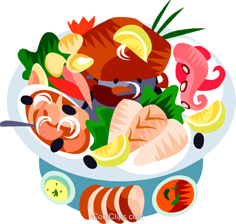EU European cuisine sea food platter Royalty Free Vector Clip Art illustration vc111432
