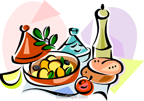 EU European cuisine tajine Royalty Free Vector Clip Art illustration vc111436