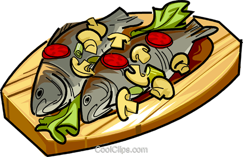 Russian cuisine fish with vegetables Royalty Free Vector Clip Art illustration vc111441