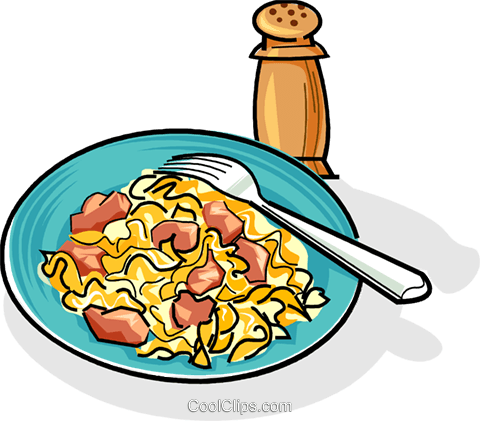 Russian cuisine macaroni - krevetki Royalty Free Vector Clip Art illustration vc111448