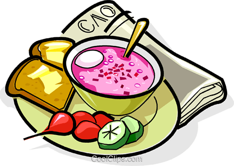 Russian cuisine borsch with bread Royalty Free Vector Clip Art illustration vc111451