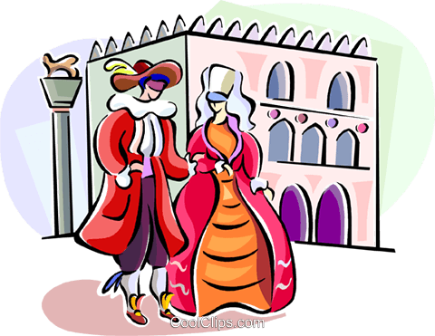 Couple attending an Italian festival Royalty Free Vector Clip Art illustration vc111466