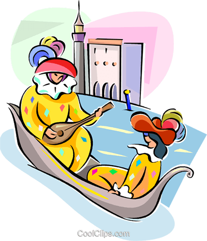 couple in gondola Royalty Free Vector Clip Art illustration vc111468