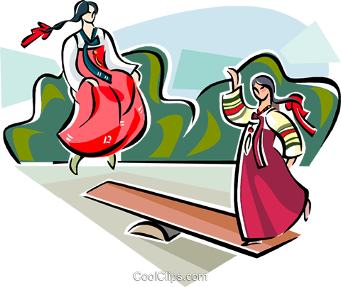 Korean girls playing balance game Royalty Free Vector Clip Art illustration vc111471